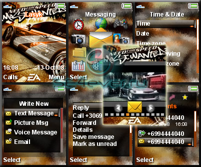 NFS Most Wanted - Theme & Flash Menu For Sony Ericsson [128x160]