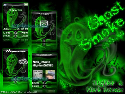 Ghost Smoke - Theme & Flash Menu For Sony Ericsson [128x160]