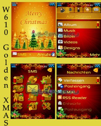 Golden Xmas - Menu + Theme For SE 176x220