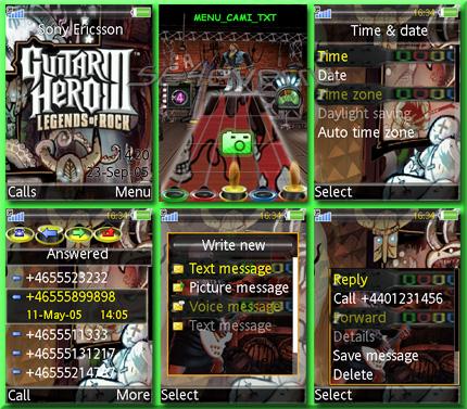 GuitarHeroIII - Theme & Flash Menu For Sony Ericsson 128x160