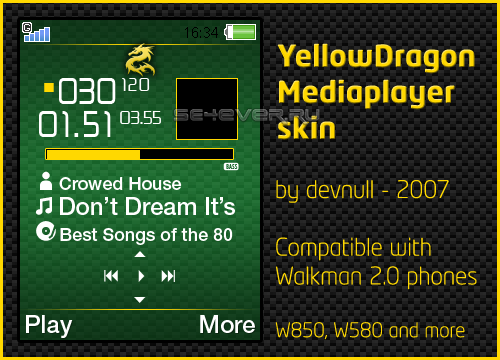 Yellow Dragon - Skin for Walkman 2.0 Sony Ericsson [240x320]