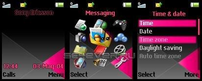 Black-pink - Тема для Sony Ericsson 128x160