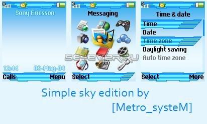 Simple Sky Edition - Тема для Sony Ericsson 128x160