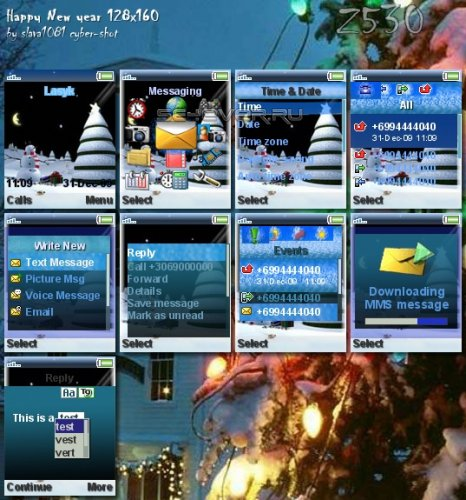 Happy New Year - Тема для Sony Ericsson 128x160