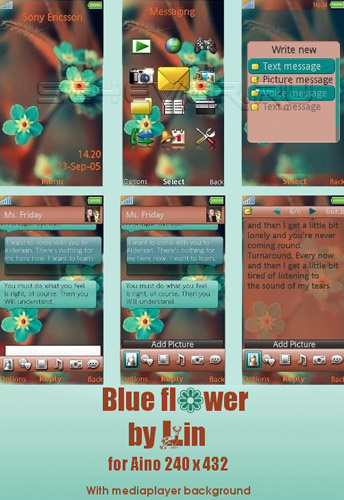 Blue Flower - Sony Ericsson Aino Theme 240x432