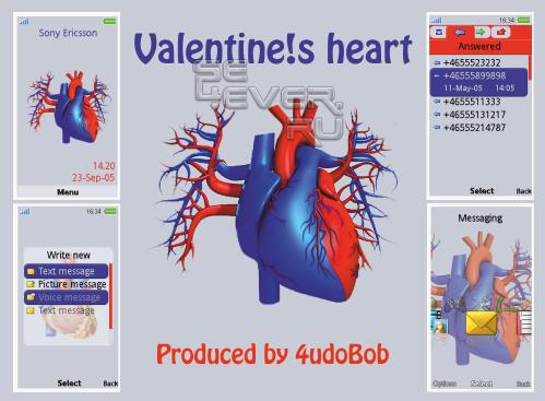 Valentine!s heart - Тема для Sony Ericsson 240x432