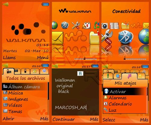 Walkman Original Black - Theme & Flash Menu For Sony Ericsson 176x220