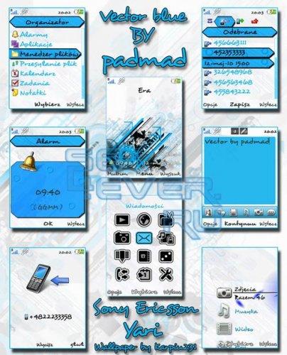 Vector Blue - Sony Ericsson Yari U100  Theme + Flash Menu