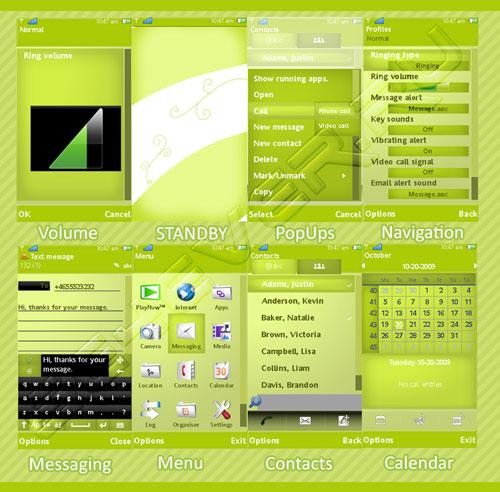 I Love Green Theme - Скачать тему для Sony Ericsson Symbian S60v5