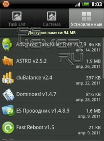 Process Manager Full Version - Менеджер задач для Android.
