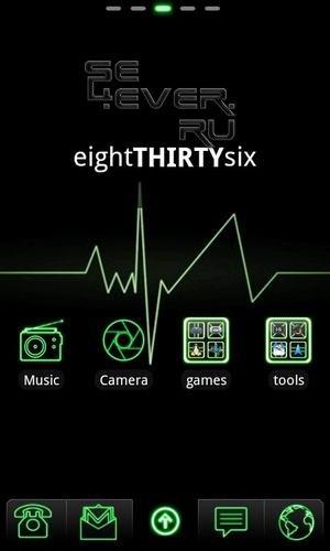 Green Neon - тема для андроид