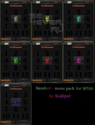 Numbers menu pack - иконки меню для SE W580 [240x320]
