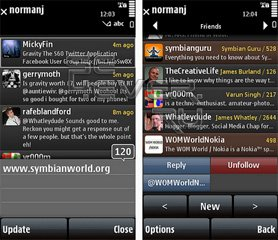 Gravity - Twitter-клиент для Symbian